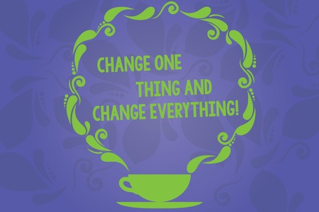 Handwriting text writing Change One Thing And Change Everything. Concept meaning Little modifications modify all Cup and Saucer with Paisley Design as Steam icon on Blank Watermarked Space