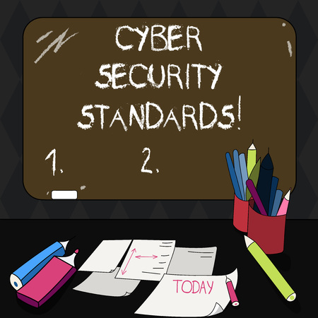 Text sign showing Cyber Security Standards. Conceptual photo Rules for organizational info security standards Mounted Blank Color Blackboard with Chalk and Writing Tools Sheets on Desk