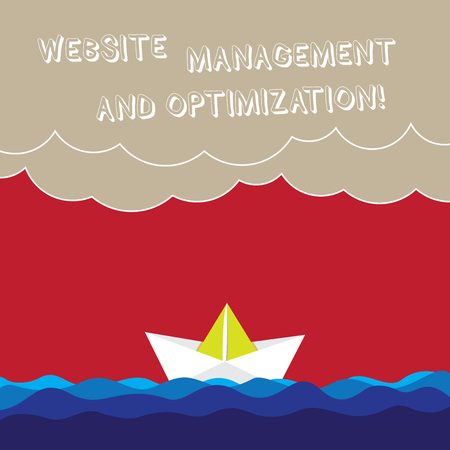 Word writing text Website Management And Optimization. Business concept for SEO optimizing online contents Wave Heavy Clouds and Paper Boat Seascape Scene photo Blank Copy Space Stockfoto
