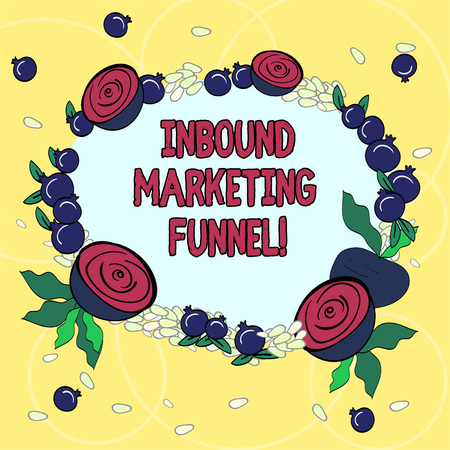 Handwriting text Inbound Marketing Funnel. Concept meaning process of attracting a large amount of prospects Floral Wreath made of Tiny Seeds Small Glossy Pomegranate and Cut Beet