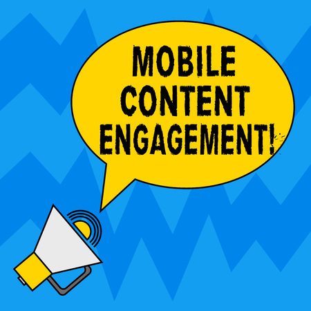 Word writing text Mobile Content Engagement. Business concept for Pushing compelling experiences to mobile users Blank Oval Outlined Speech Bubble Text Balloon Megaphone with Sound icon Banco de Imagens