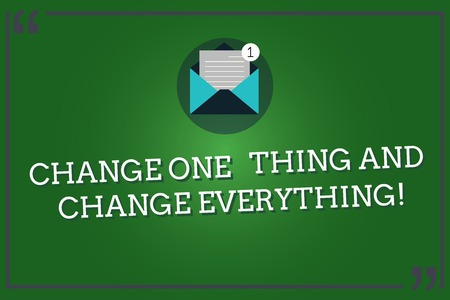 Word writing text Change One Thing And Change Everything. Business concept for Little modifications modify all Open Envelope with Paper New Email Message inside Quotation Mark Outline 版權商用圖片