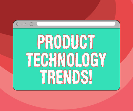 Text sign showing Product Technology Trends. Conceptual photo Readily accepted in the market Becoming popular Monitor Screen with Forward Backward Progress Control Bar Blank Text Space 版權商用圖片