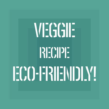 Text sign showing Veggie Recipe Eco Friendly. Conceptual photo Living Green Vegan diet Using organic ingredients Geometrical Shape Multiple Halftone Squares Overlaying Like Tunnel photo