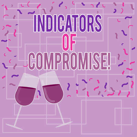 Text sign showing Indicators Of Compromise. Conceptual photo artifact observed on a network Forensic data Filled Wine Glass Toasting for Celebration with Scattered Confetti photo Stok Fotoğraf
