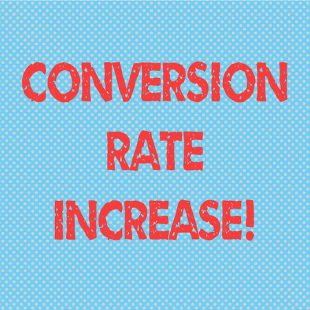 Word writing text Conversion Rate Increase. Business concept for Percentage of users who take a desired action Seamless Polka Dots Pixel Effect for Web Design and Optical Illusion Stock Photo