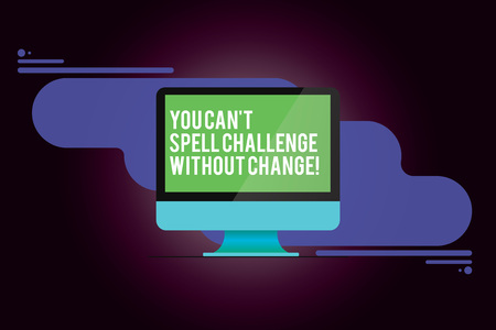 Word writing text You Can T Spell Challenge Without Change. Business concept for Make changes to accomplish goals Mounted Computer Monitor Blank Reflected Screen on Abstract Background 스톡 콘텐츠