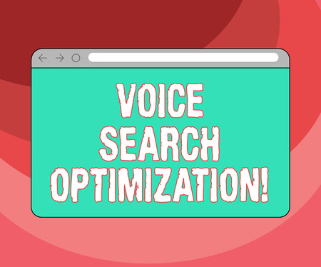 Text sign showing Voice Search Optimization. Conceptual photo enhance web searching through spoken comanalysisds Monitor Screen with Forward Backward Progress Control Bar Blank Text Space Stok Fotoğraf