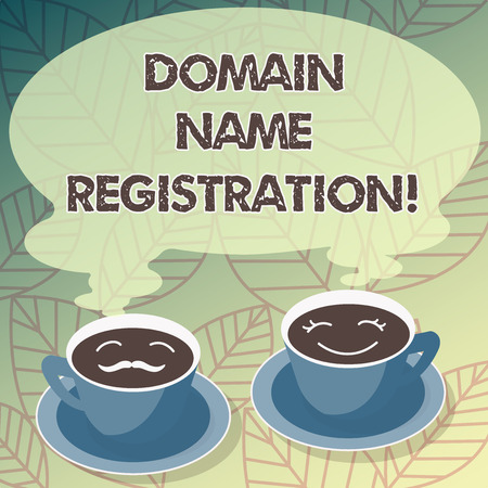 Conceptual hand writing showing Domain Name Registration. Business photo text process of reserving a name on the Internet Cup Saucer for His and Hers Coffee Face icon with Steam