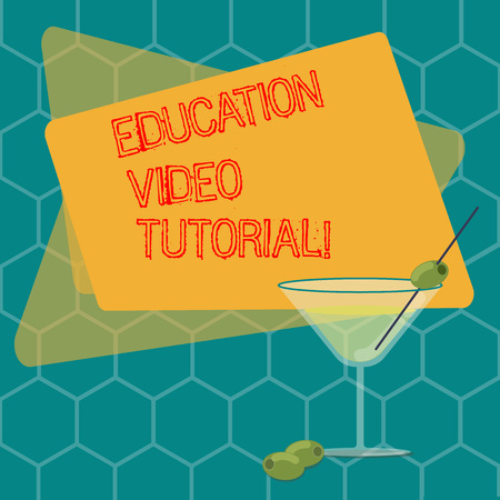 Word writing text Education Video Tutorial. Business concept for method of transferring knowledge through video Filled Cocktail Wine Glass with Olive on the Rim Blank Color Text Space Stock fotó