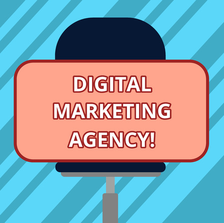 Text sign showing Digital Marketing Agency. Conceptual photo Helps business engage with exact target audiences Blank Rectangular Shape Sticker Sitting Horizontally on a Swivel Chair