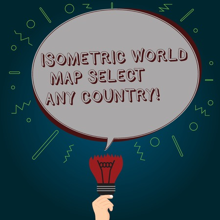 Conceptual hand writing showing Isometric World Map Select Any Country. Business photo text gps global positioning modern device Oval Speech Bubble Above a Broken Bulb with Failed Idea icon