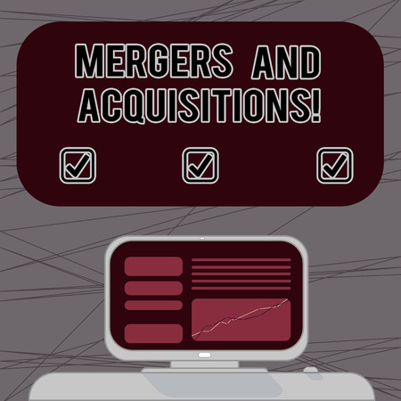 Word writing text Mergers And Acquisitions. Business concept for Refers to the consolidation of companies or assets Mounted Computer Screen with Line Graph on Desk Blank Color Text Box