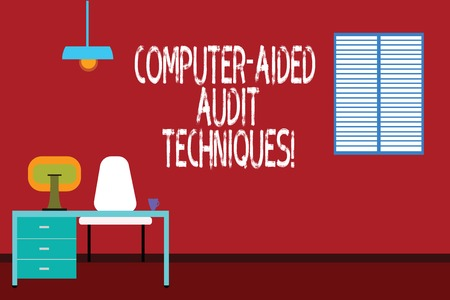 Text sign showing Computer Aided Audit Techniques. Conceptual photo Using computer to automate IT audit process Work Space Minimalist Interior Computer and Study Area Inside a Room photo