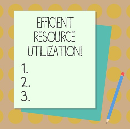 Text sign showing Efficient Resource Utilization. Conceptual photo Maximizing the effectiveness and productivity Stack of Blank Different Pastel Color Construction Bond Paper and Pencil