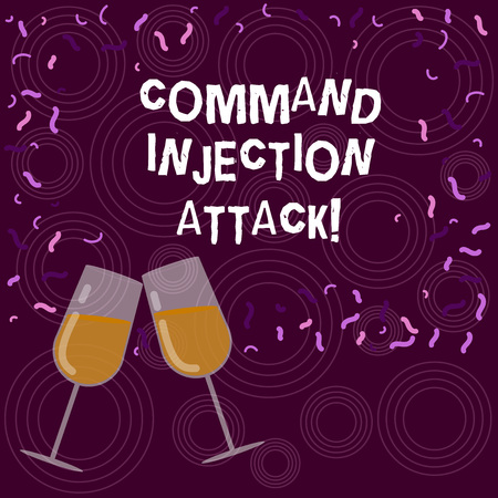 Writing note showing Comanalysisd Injection Attack. Business photo showcasing execution of arbitrary comanalysisds on the host OS Filled Wine Glass for Celebration with Scattered Confetti photo