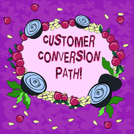Conceptual hand writing showing Customer Conversion Path. Business photo showcasing steps that user went through over the website Floral Wreath made of Tiny Seeds Small Glossy Pomegranate Reklamní fotografie