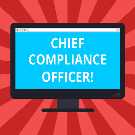 Conceptual hand writing showing Chief Compliance Officer. Business photo text oversees the Corporate Compliance Program Blank Computer Monitor Color Screen Mounted with Progress Bar