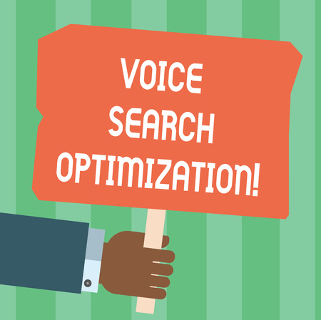 Writing note showing Voice Search Optimization. Business photo showcasing enhance web searching through spoken comanalysisds Hu analysis Hand Holding Colored Placard with Stick Text Space Stok Fotoğraf