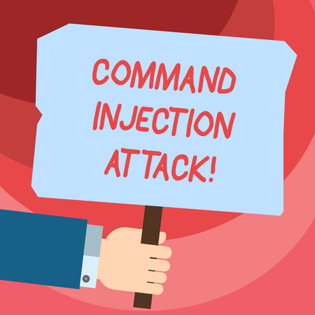 Word writing text Comanalysisd Injection Attack. Business concept for execution of arbitrary comanalysisds on the host OS Hu analysis Hand Holding Blank Colored Placard with Stick photo Text Space Stok Fotoğraf