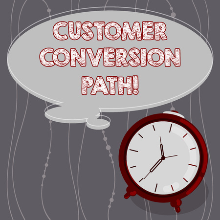 Text sign showing Customer Conversion Path. Conceptual photo steps that user went through over the website Blank Color Thought Speech Bubble with Outline and Alarm Clock photo Reklamní fotografie