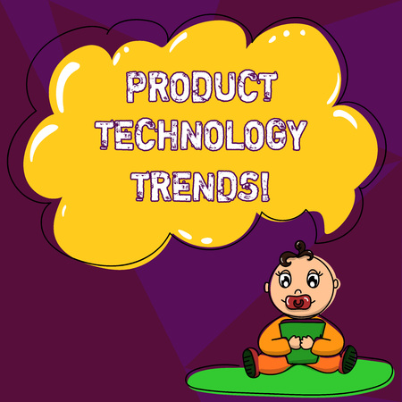Handwriting text writing Product Technology Trends. Concept meaning Readily accepted in the market Becoming popular Baby Sitting on Rug with Pacifier Book and Blank Color Cloud Speech Bubble Stock Photo