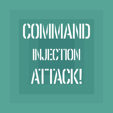 Text sign showing Comanalysisd Injection Attack. Conceptual photo execution of arbitrary comanalysisds on the host OS Geometrical Shape Multiple Halftone Squares Overlaying Like Tunnel photo