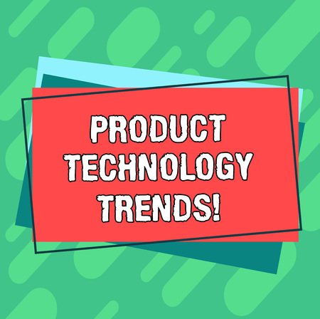 Word writing text Product Technology Trends. Business concept for Readily accepted in the market Becoming popular Pile of Blank Rectangular Outlined Different Color Construction Paper