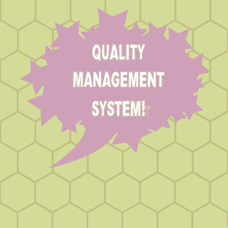 Conceptual hand writing showing Quality Management System. Business photo text formalized system that documents processes Oval Color Speech Bubble with Stars as Outline Text Space