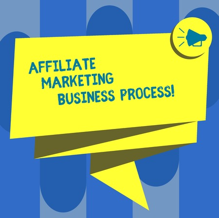 Handwriting text Affiliate Marketing Business Process. Concept meaning Modern advertising social media ways Folded 3D Ribbon Sash Megaphone Speech Bubble photo for Celebration