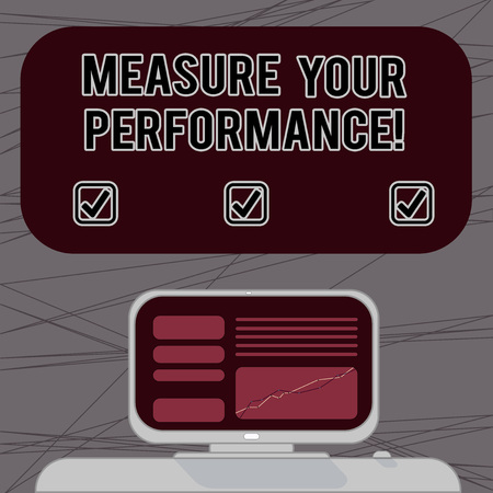 Word writing text Measure Your Perforanalysisce. Business concept for regular measurement of outcomes and results Mounted Computer Screen with Line Graph on Desk Blank Color Text Box