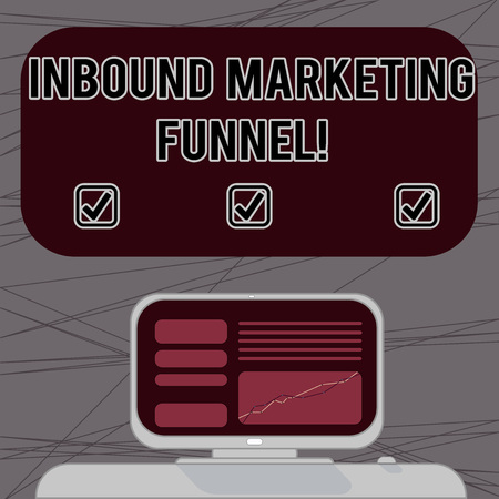 Word writing text Inbound Marketing Funnel. Business concept for process of attracting a large amount of prospects Mounted Computer Screen with Line Graph on Desk Blank Color Text Box 写真素材