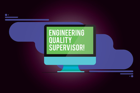 Word writing text Production And Maintenance Supervisor. Business concept for Industry control company engineer Mounted Computer Monitor Blank Reflected Screen on Abstract Background