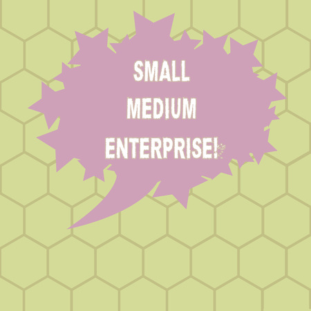 Conceptual hand writing showing Small Medium Enterprise. Business photo text independent firms which employ fewer employee Oval Color Speech Bubble with Stars as Outline Text Space