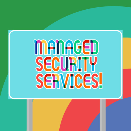 Conceptual hand writing showing Managed Security Services. Business photo showcasing approach in analysisaging clients security needs Blank Outdoor Color Signpost photo with Two leg and Outline