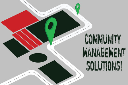 Word writing text Community Management Solutions. Business concept for Manage and engage the community of your brand Road Map Navigation Marker 3D Locator Pin for Direction Route Advisory