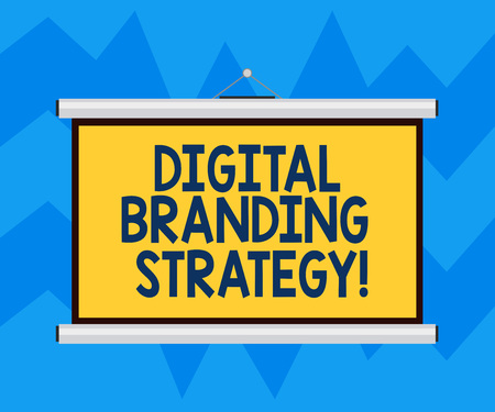 Text sign showing Digital Branding Strategy. Conceptual photo develop a brand over a range of digital venues Blank Portable Wall Hanged Projection Screen for Conference Presentation