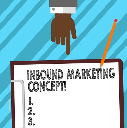 Word writing text Inbound Marketing Concept. Business concept for strategy that focuses on attracting customers Hu analysis Hand Pointing Down to Clipboard with Blank Bond Paper and Pencil 写真素材