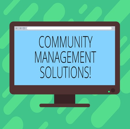 Conceptual hand writing showing Community Management Solutions. Business photo text Manage and engage the community of your brand Blank Computer Monitor Color Screen Mounted with Progress Bar