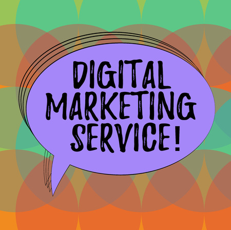 Word writing text Digital Marketing Service. Business concept for services using digital channels to reach consumers Blank Oval Outlined Solid Color Speech Bubble Empty Text Balloon photo Banco de Imagens