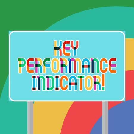 Conceptual hand writing showing Key Perforanalysisce Indicator. Business photo showcasing evaluate the success of an organizations Blank Outdoor Color Signpost photo with Two leg and Outline 写真素材
