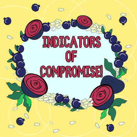 Handwriting text Indicators Of Compromise. Concept meaning artifact observed on a network Forensic data Floral Wreath made of Tiny Seeds Small Glossy Pomegranate and Cut Beet Stok Fotoğraf