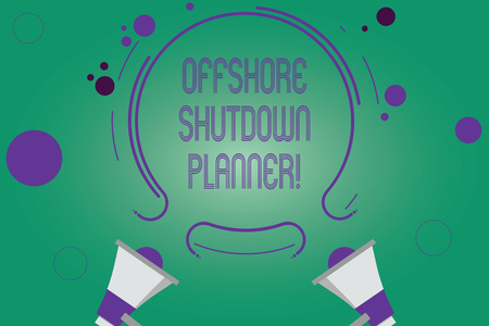 Writing note showing Offshore Shutdown Planner. Business photo showcasing Responsible for plant maintenance shutdown Two Megaphone and Circular Outline with Small on Color Background