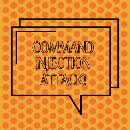 Writing note showing Comanalysisd Injection Attack. Business photo showcasing execution of arbitrary comanalysisds on the host OS Rectangular Outline Transparent Comic Speech Bubble photo Blank Space