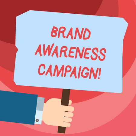 Word writing text Brand Awareness Campaign. Business concept for How aware consumers are with your products Hu analysis Hand Holding Blank Colored Placard with Stick photo Text Space