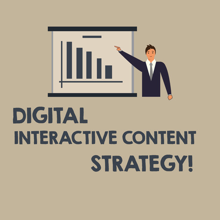 Writing note showing Digital Interactive Content Strategy. Business photo showcasing Search engine optimization marketing Man in Business Suit Pointing a Board Bar Chart Copy Space 免版税图像