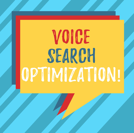 Text sign showing Voice Search Optimization. Conceptual photo enhance web searching through spoken comanalysisds Stack of Speech Bubble Different Color Blank Colorful Piled Text Balloon Stock Photo