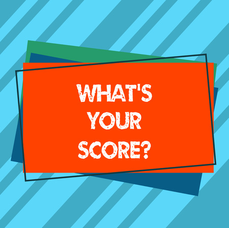 Writing note showing What S Is Your Scorequestion. Business photo showcasing asking about the real facts of a situation Pile of Blank Rectangular Outlined Different Color Construction Paper