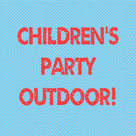 Word writing text Children S Is Party Outdoor. Business concept for Kids festivity held outside the house Seamless Polka Dots Pixel Effect for Web Design and Optical Illusion