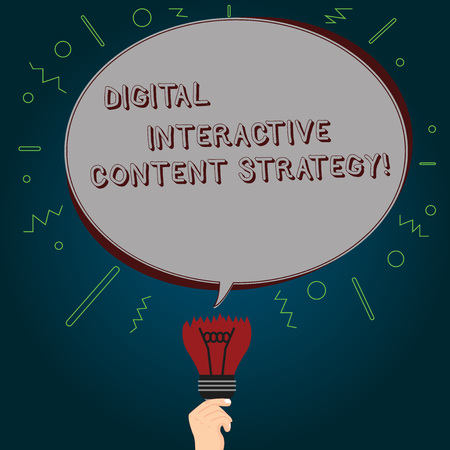 Conceptual hand writing showing Digital Interactive Content Strategy. Business photo text Search engine optimization marketing Oval Speech Bubble Above a Broken Bulb with Failed Idea icon
